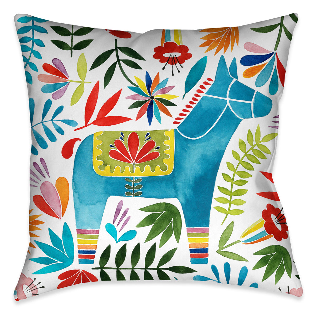 The fun Fiesta Animal III Outdoor Decorative Pillow displays a colorful animal and flower design motif that is sure to bring liveliness to any living space!