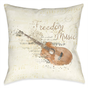 Find Freedom in the Music Outdoor Decorative Pillow