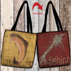 Lodge Fishing Canvas Tote Bag