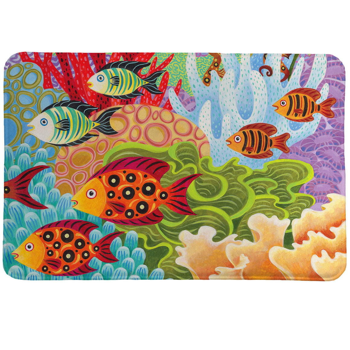 Fish in the Hood Memory Foam Rug uses vivid pinks, blues, greens, and purples to create fish set in a bright underwater scene.