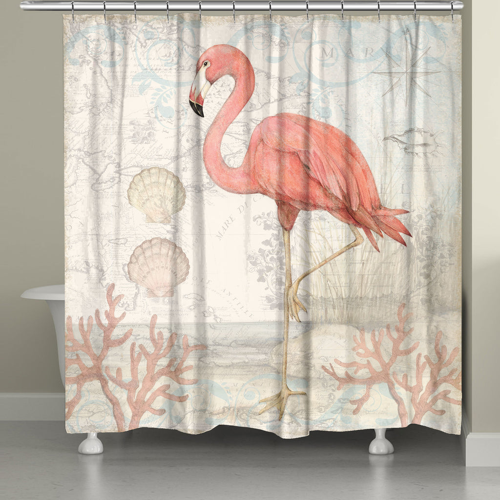 Coastal Flamingo Shower Curtain Laural Home