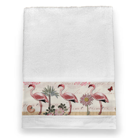 Botanical Flamingo Bath Towel