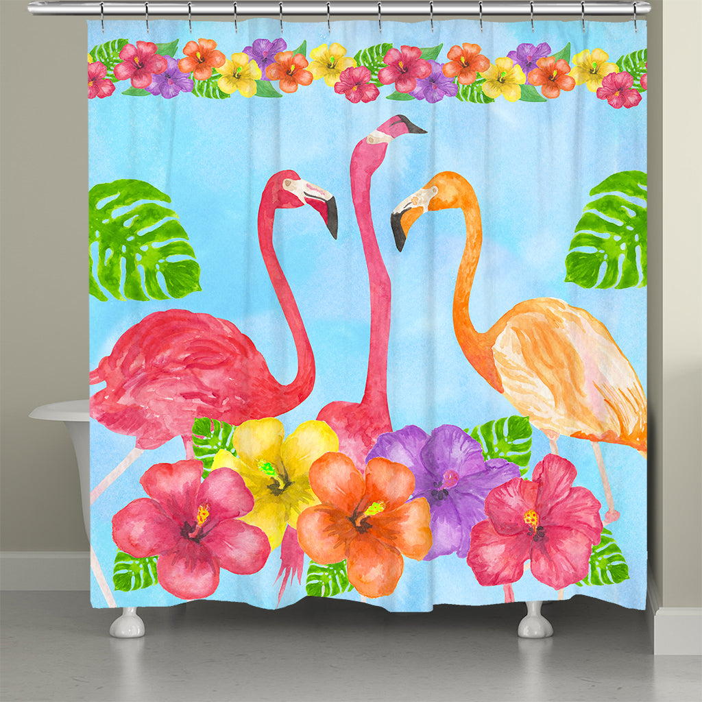 Flamingos In Paradise Shower Curtain