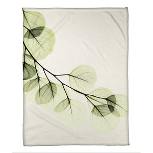 Green X-Ray of Eucalyptus Leaves Fleece Throw