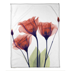 Red Gentian X-Ray Flowers Fleece Throw