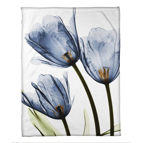 Blue Tulip Trio X,Ray Flowers Fleece Throw