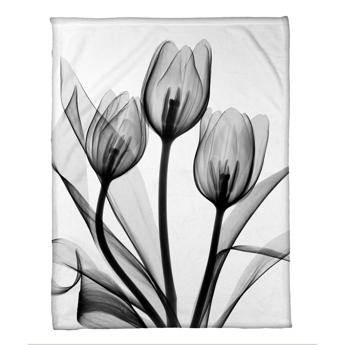 Monochromatic Black Tulips Fleece Throw