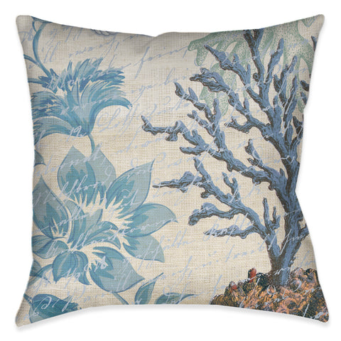 Blue Floral Coral Indoor Decorative Pillow