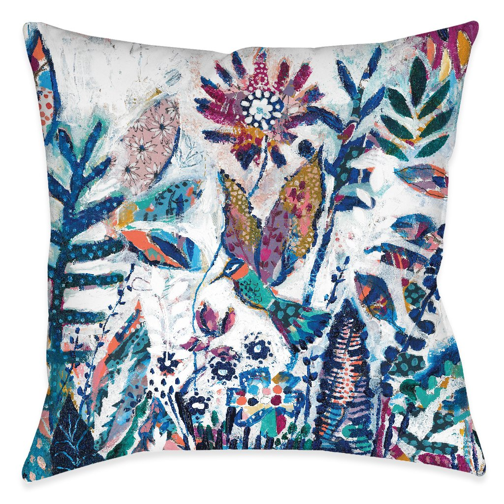 Floral Bird Patches Outdoor Decorative Pillow
