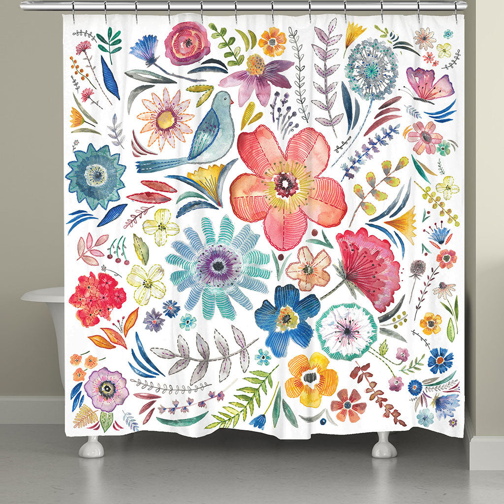 Floral Bling Shower Curtain Laural Home