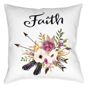Watercolor Flowers Faith Pillow