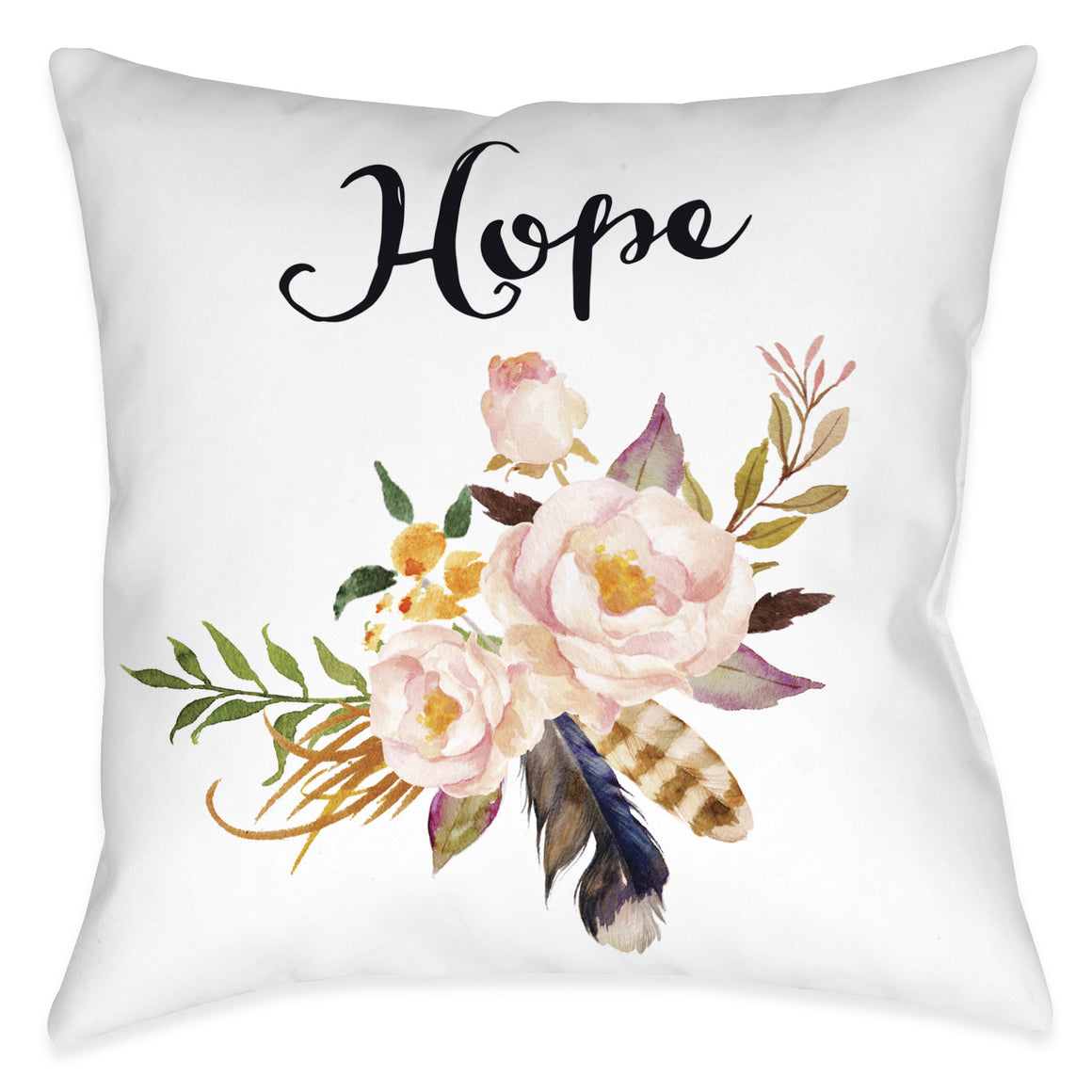 Watercolor Flowers Hope Pillow