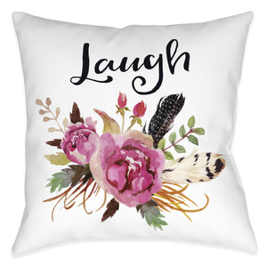 Watercolor Flowers Laugh Pillow