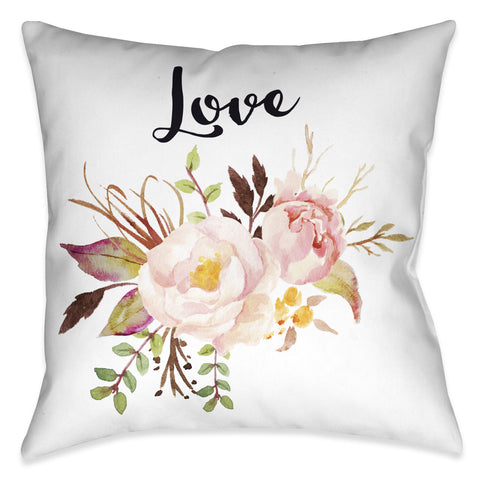 Watercolor Flowers Love Indoor Decorative Pillow