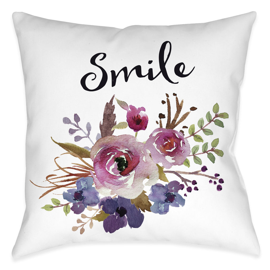 Watercolor Flowers Smile Pillow