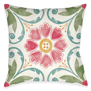 Floral Medallion Outdoor Decorative Pillow