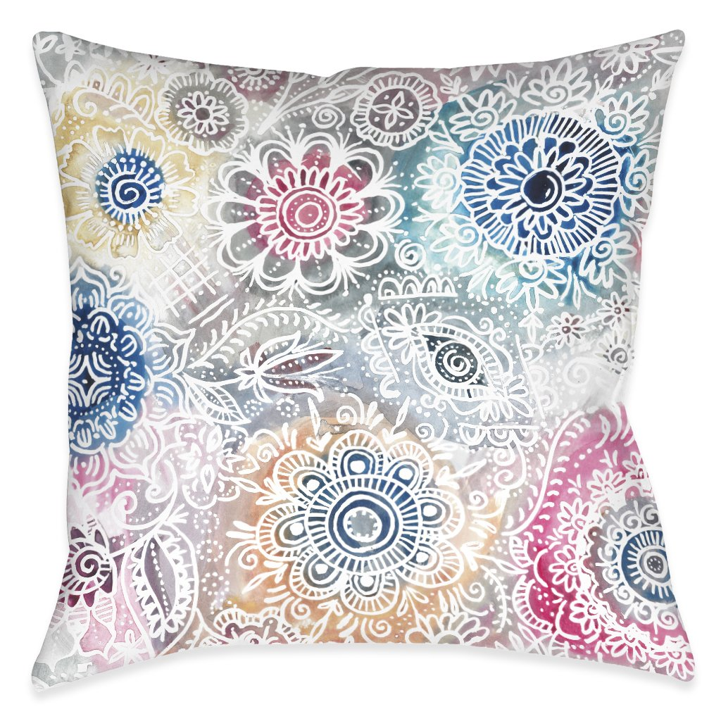 Floral Sketch Outdoor Decorative Pillow