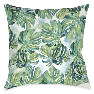 Flourishing Shades of Green Palms Outdoor Decorative Pillow