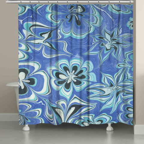 Blue Flower Marble Shower Curtain