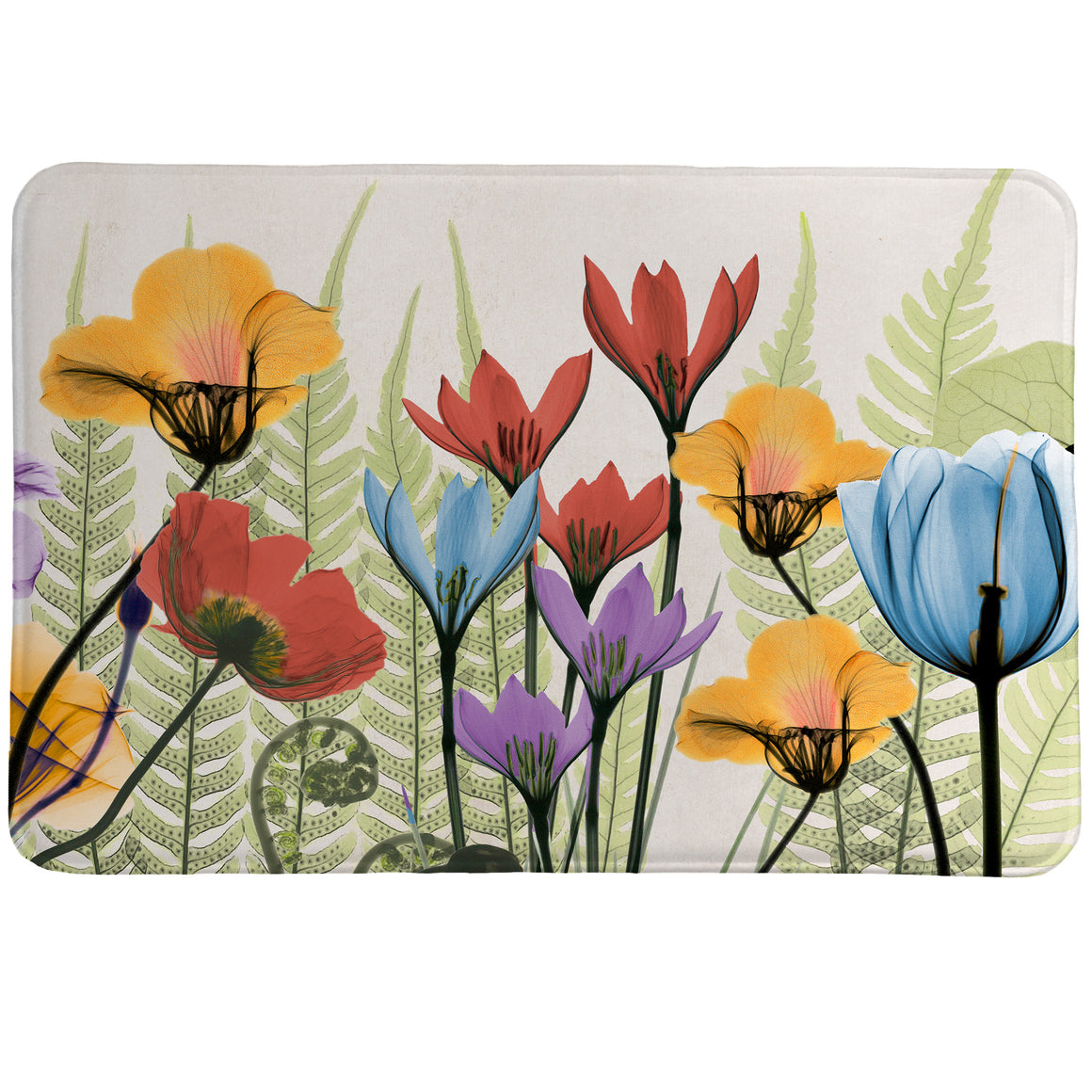 Flourishing Botanicals Memory Foam Rug features a beautiful floral arrangement created using a special technique using an x-ray machine and flowers.