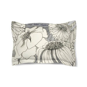 Flowers on Grey Duvet Sham