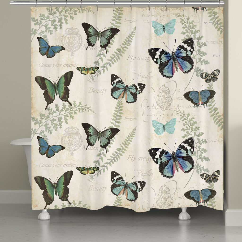 Flutters and Ferns Shower Curtain