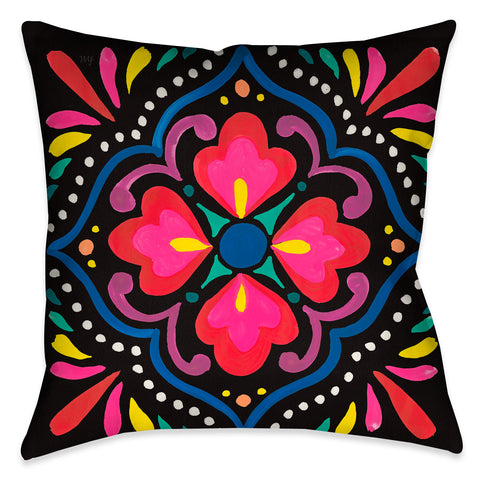 Folk Art Floral I Outdoor Decorative Pillow
