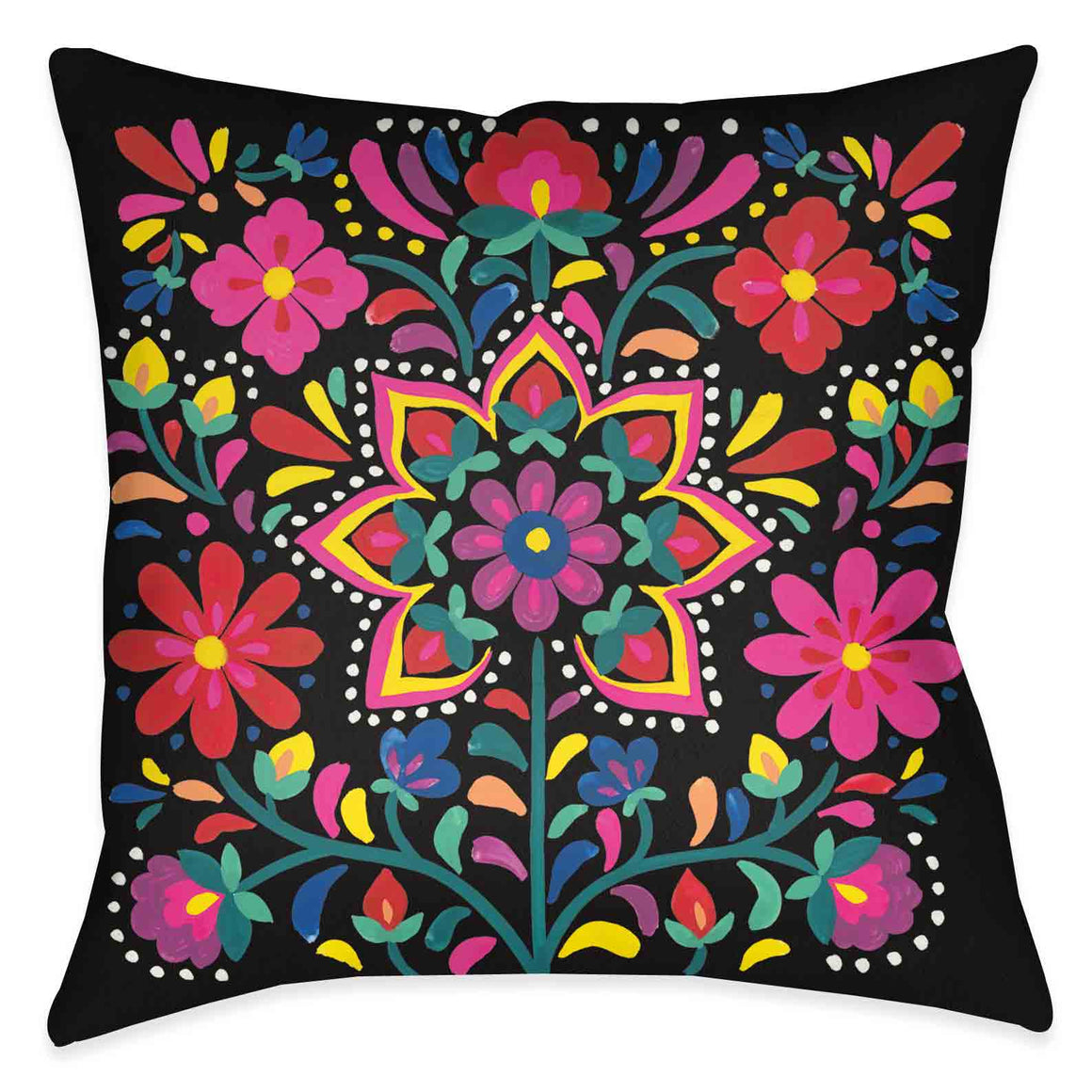 Folk Art Floral III Outdoor Decorative Pillow