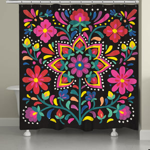 Beautiful modern and folk-art inspired shower curtain decor