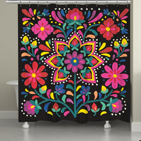 Folk Art Floral Night Shower Curtain