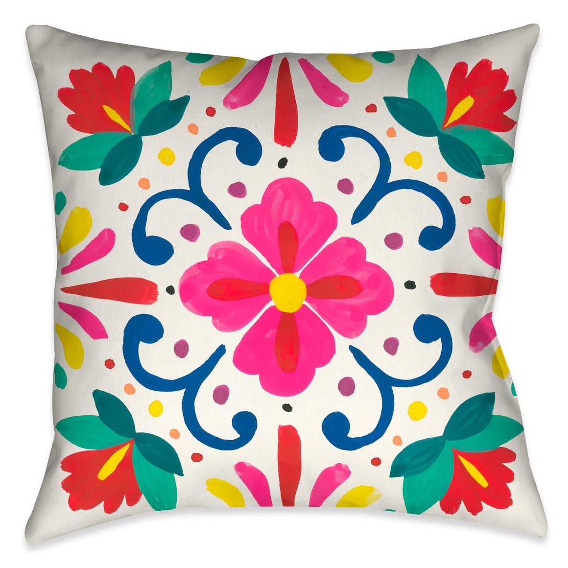 This beautiful modern folk-art inspired decorative pillow, features pops of vibrant colorful flowers against a off-white background.