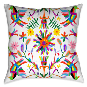 This beautiful contemporary folk-art inspired decorative pillow, celebrates inspired motifs from the Otomi region of Mexico. The pops of color in the floral and animal imagery against the white background enhances the festive traditional aesthetic and vibrancy of these culturally inspired motif.