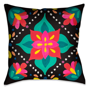 This beautiful modern folk-art inspired decorative pillow, features pops of vibrant colorful flowers against a black background.