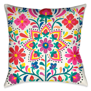 Folk Art Floral V Outdoor Decorative Pillow