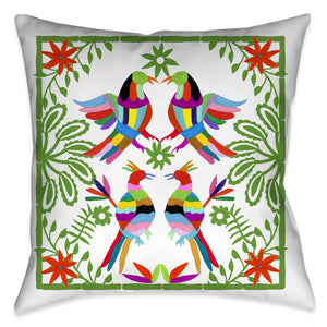 This beautiful contemporary folk-art inspired decorative pillow, celebrates inspired motifs from the Otomi region of Mexico. The pops of color in the floral and animal imagery against the white background enhances the festive traditional aesthetic and vibrancy of these culturally inspired motif,