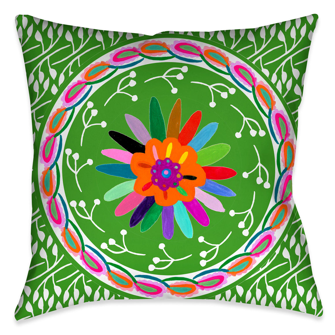 Folk Art Whimsy III Outdoor Decorative Pillow