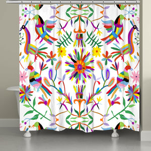 This beautiful folk-art inspired design features inspired traditional floral and animal motifs from the Otomi region. Displayed on an white background, the festive colors pop beautifully exposing a sophisticated balance of color and movement that is sure to bring liveliness to any bathroom space.