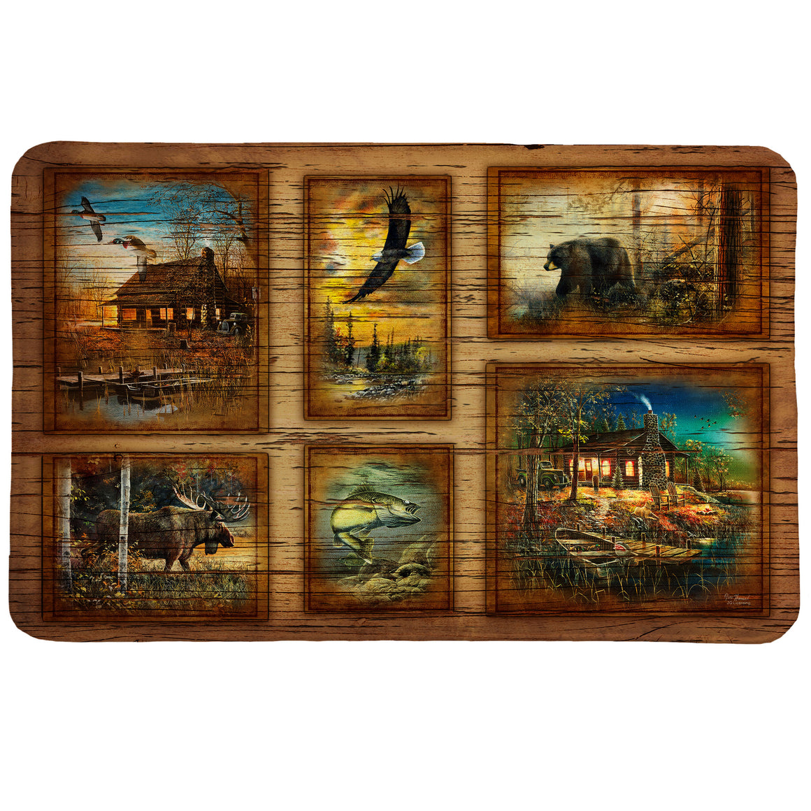 Forest Collage Memory Foam Rug features a fun collage of rustic outdoor imagery.
