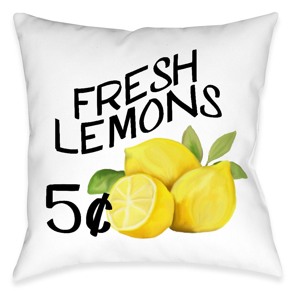 Fresh Lemons Outdoor Decorative Pillow