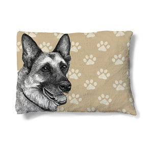 "German Shepherd Sketch 30"" x 40"" Fleece Dog Bed features a German Shepherd resting peacefully before a paw-print backdrop."