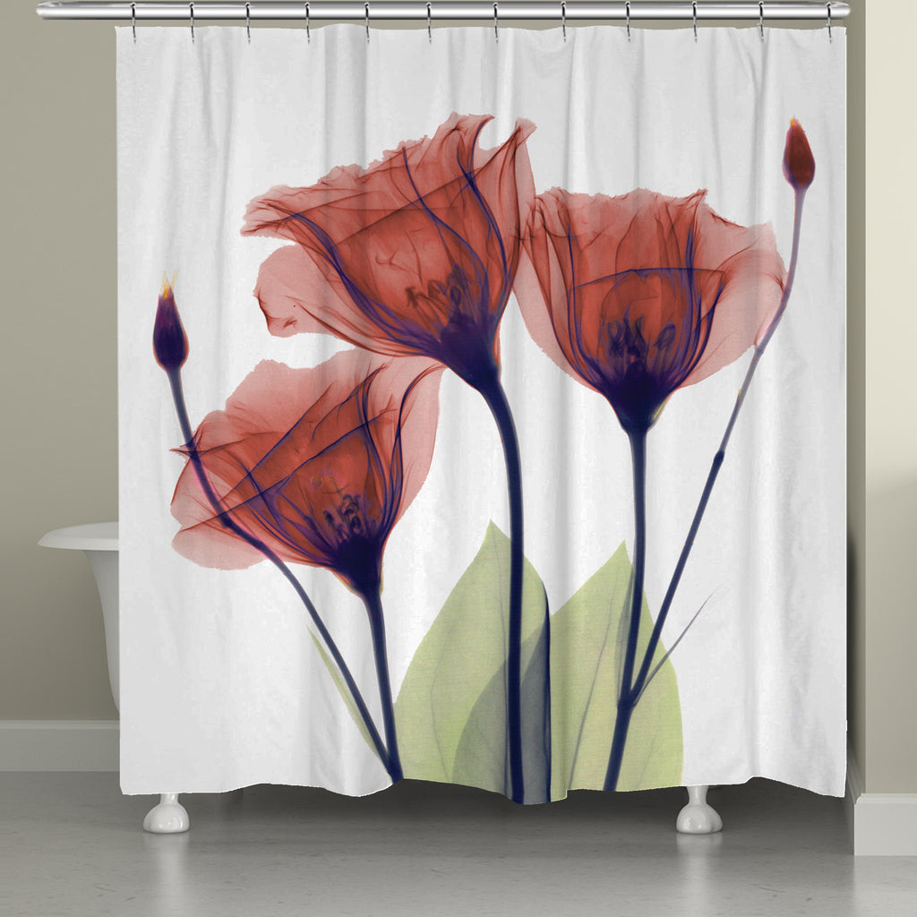 Red Gentian X Ray Flowers Shower Curtain
