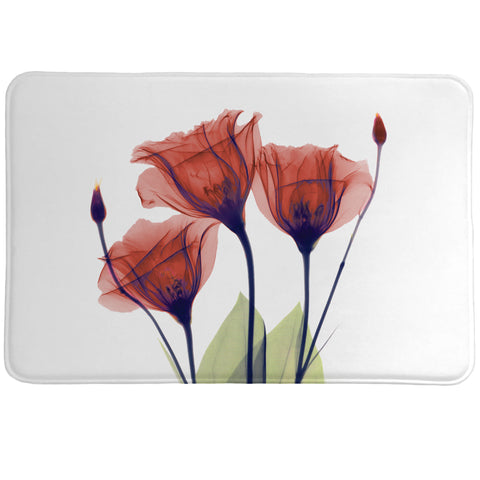 Red Gentian X-Ray Flowers Memory Foam Rug