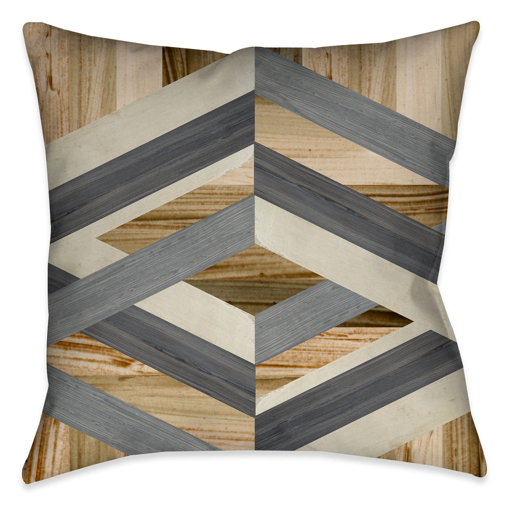 This modern-geometric approach to decorative pillow art combines organic wood-shaded textures with a structural offset of grey and beige geometric shapes.