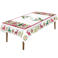 Geometric Christmas Tablecloth features Christmas trees in different shapes and sizes, bordered with playful reindeer and colorful snowflakes on a white background.
