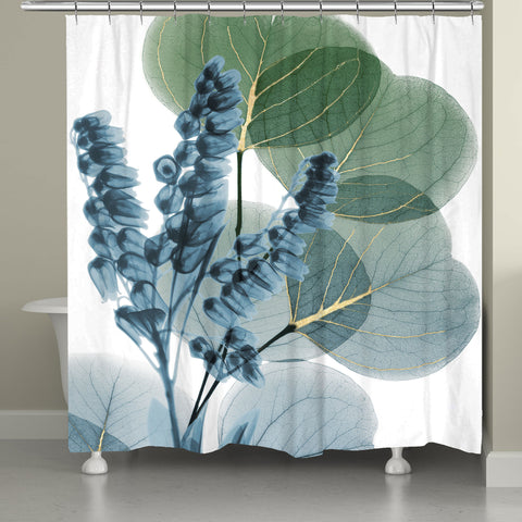 lily and eucalyptus leaf xray shower curtain