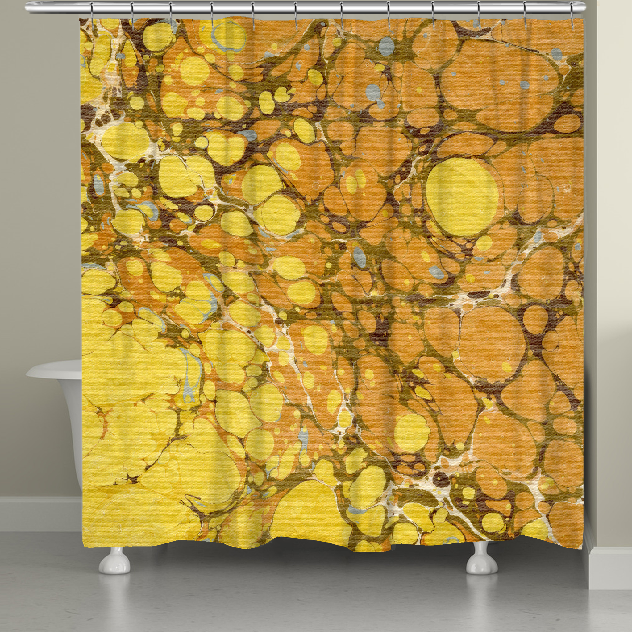 Golden Mustard Marble Shower Curtain Laural Home