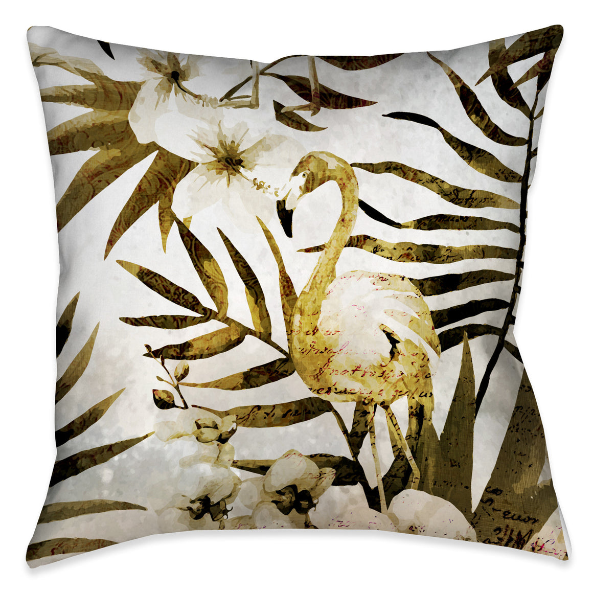 Golden Flamingo Indoor Decorative Pillow
