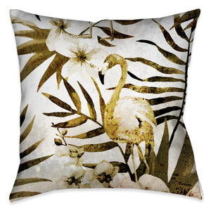 Golden Flamingo Outdoor Decorative Pillow