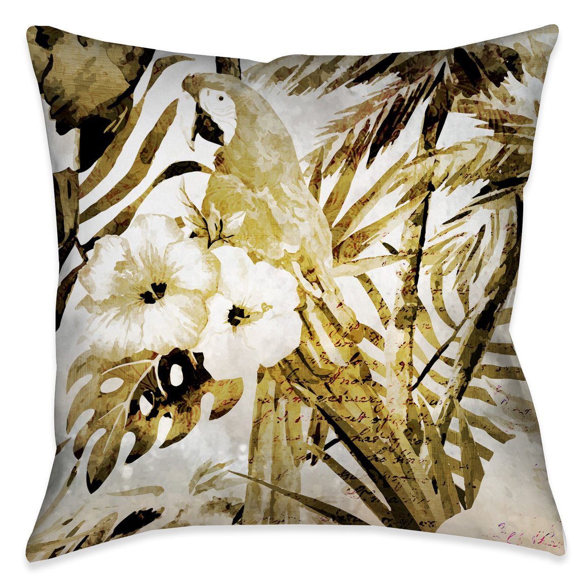 Golden Macaw Outdoor Decorative Pillow