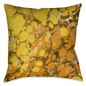 Golden Mustard Marble Outdoor Decorative Pillow